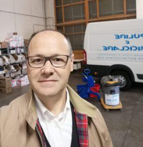 Marco Corsini, titolare dell'impresa di pulizie Pulire e Riciclare